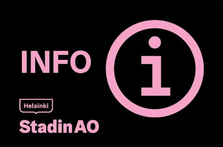 Kuvituskuva, Stadin AO:n logo ja info-merkki.