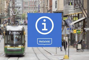 Info-logo Aleksanterinkadun katuvilinän päällä.