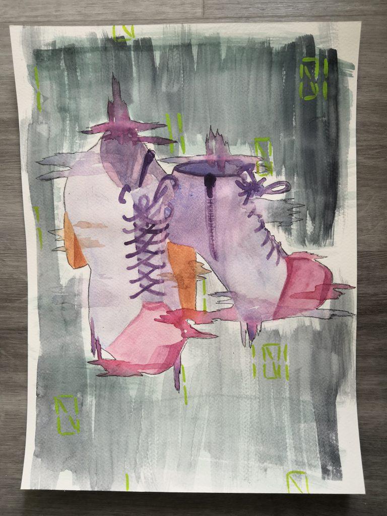 Johanna Lackmanin teos Mallin mukaan -sarjasta SAKUstars-kilpailussa, maalaus korollisista nilkkakengistä.