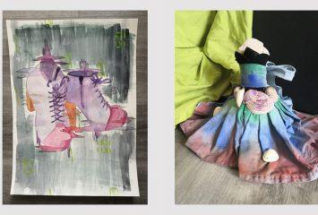 Johanna Lackmanin kaksi teosta SAKUstars-kilpailuista. Toisessa kuvassa Mallin mukaan -sarjasta piirrety saappaat. Toisessa kuvassa Taidetta kahdessa tunnissa -sarjassa syntynyt naisfiguuri.