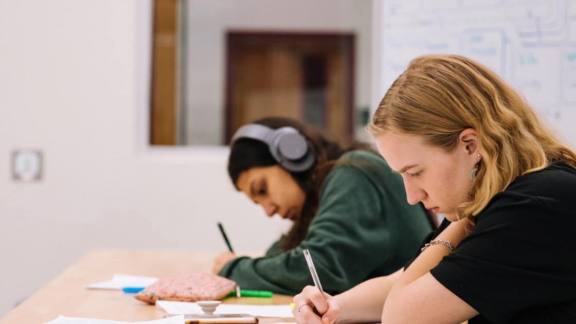 Kaksi nuorta henkilöä opiskelemassa.